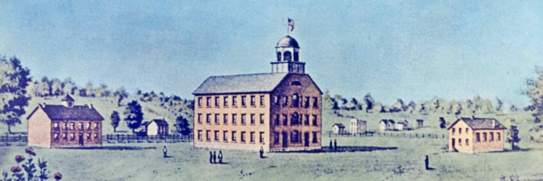 IU's original campus on Seminary Square featuring the Seminary Building, First College Building, and Laboratory.