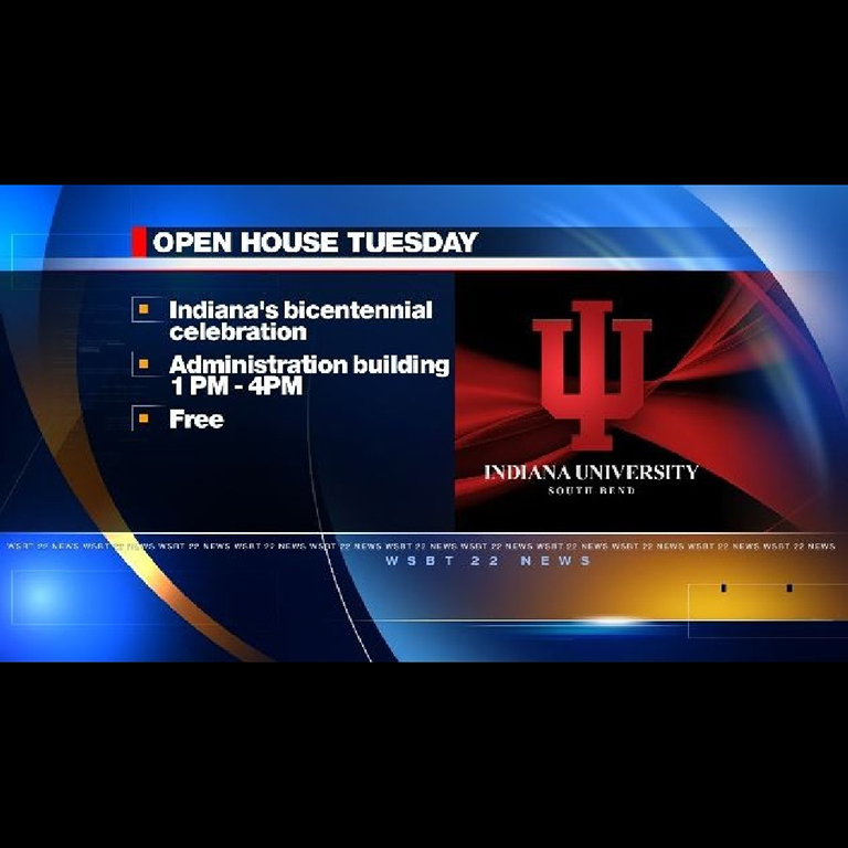 A screen capture of a screen with the words IU Bicentennial Open House on it.
