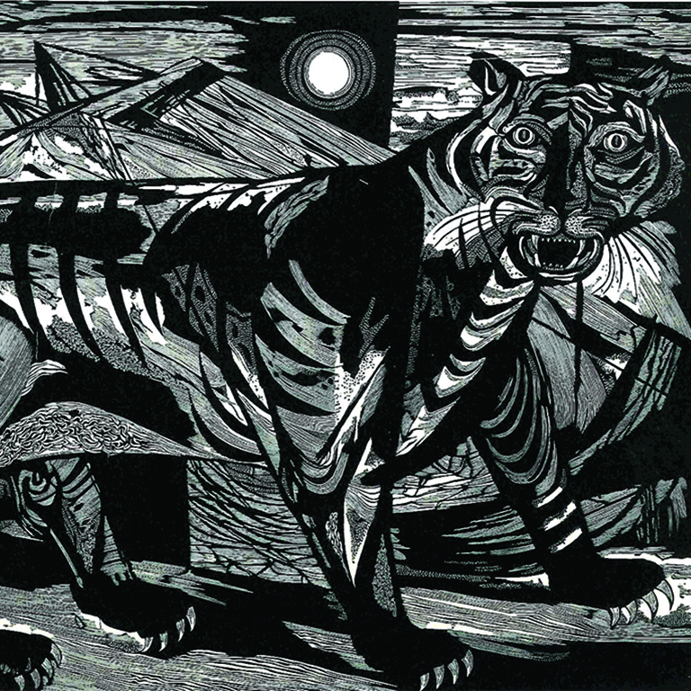 A black and white drawing of a tiger.