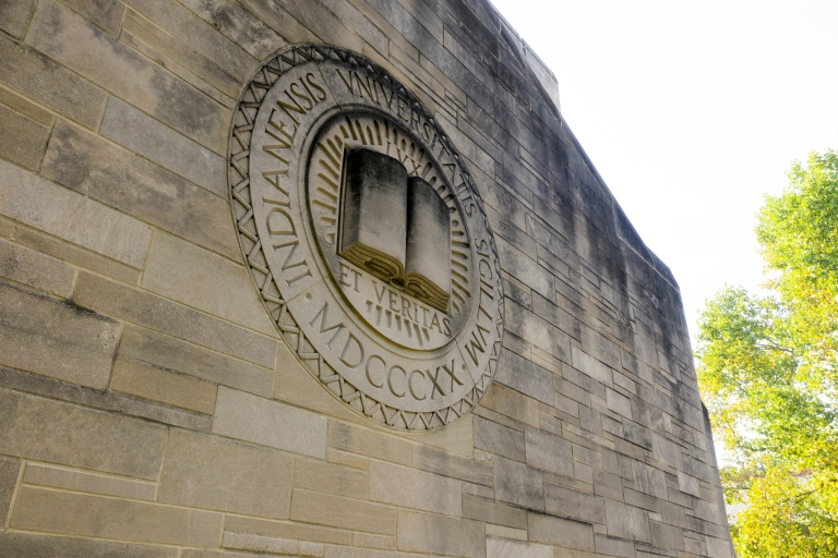 Indiana University Seal on limestone building