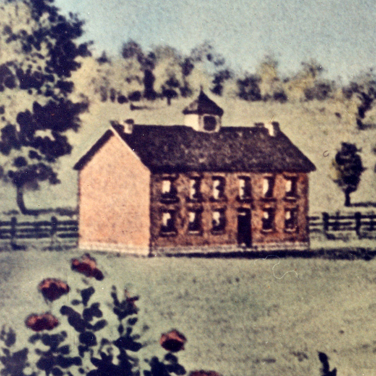 A painting of one of the Seminary Square buildings