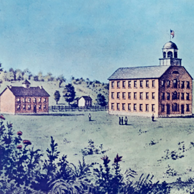 A painting of two buildings from the Seminary Square campus.