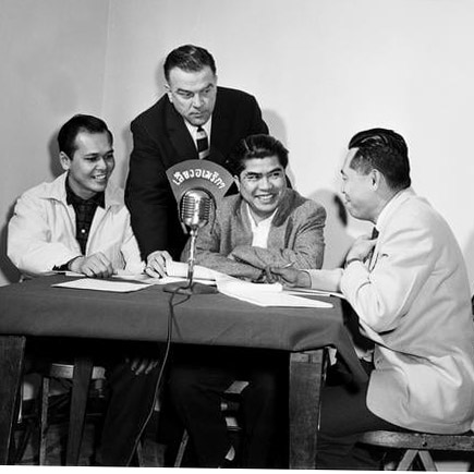 Thai students performing a radio show