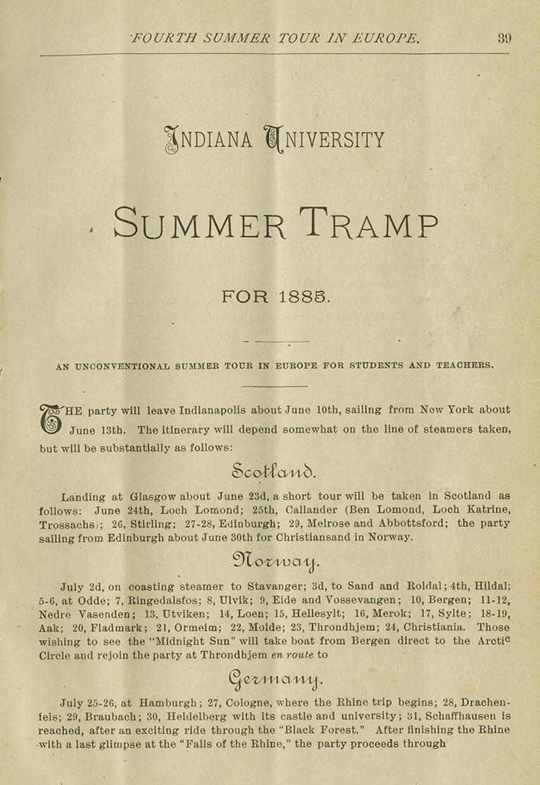 Copy of program for Indiana University Summer Tramp 1885